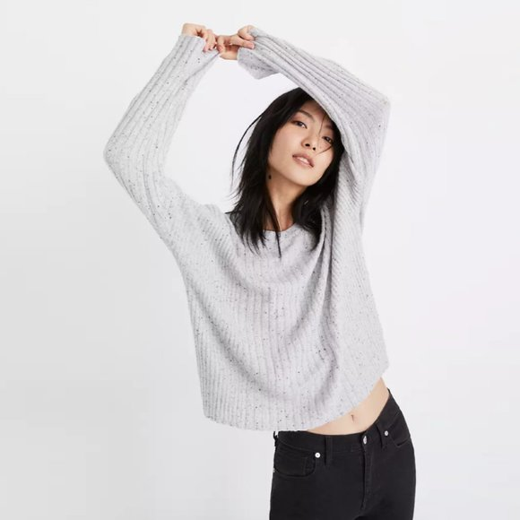 Madewell black wool-blend relaxed crewneck sweater